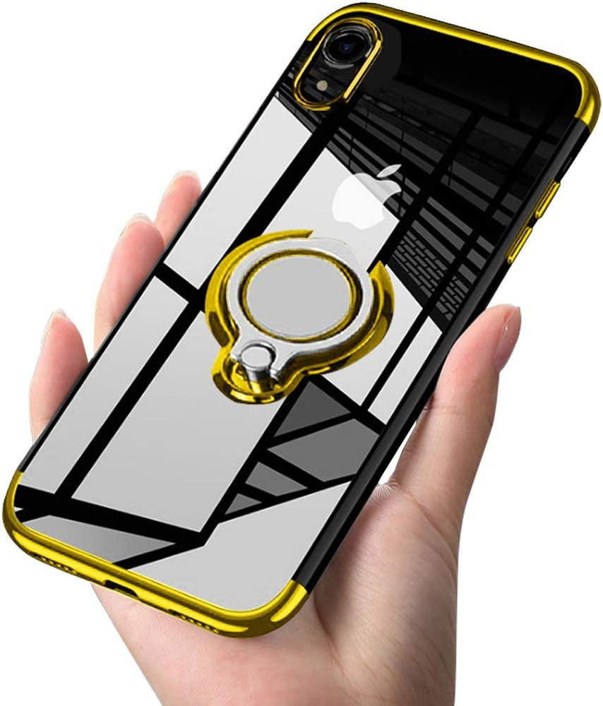 ATUSIDUN Designed for iPhone XR Case Clear 6.1 Slim 360° Adjustable Ring Holder in Soft TPU Thin Anti-Scratch Shockproof Impact Protection for Magnetic Car Mount