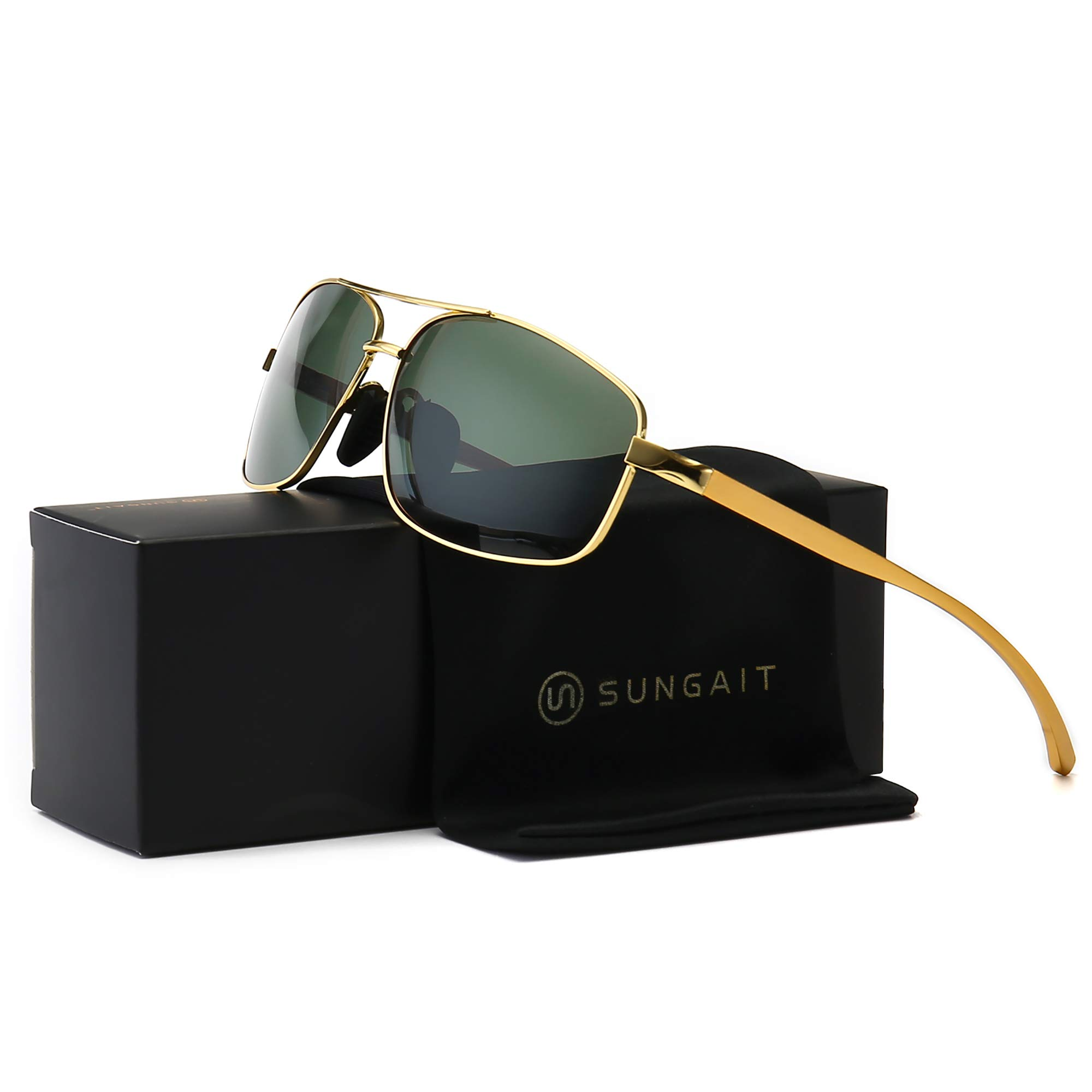SUNGAIT Ultra Lightweight Rectangular Polarized Sunglasses UV400 Protection (Gold Frame Green Lens, 62) Metal Frame 2458 JKMLV by SUNGAIT