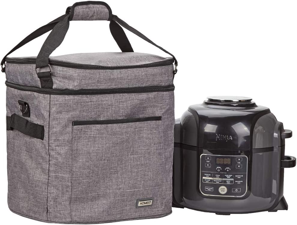 HOMEST Carrying Bag for Ninjia Foodi 6.5-8 Quart Pressure Cooker, 2 Compartments Storage Tote Bag with Aluminum Foil, Grey (Patent Pending)
