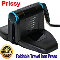 Prissy Foldable Mini Travel Iron Press - Ironing Cloths in Business Travelling Trips Portable Folding Compact Electric Lightweight Temperature Control (Black)