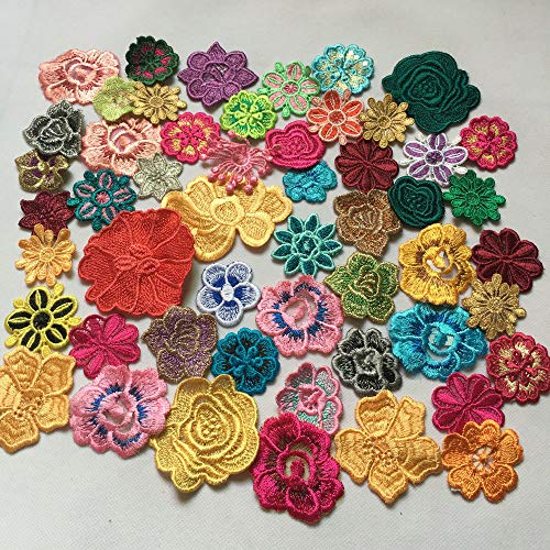 50pcs Colorful Embroidered Flower Sew On Patches Fiber Sewing Trims Clothes Wedding Dress Craft DIY (Embroidered Flowers)