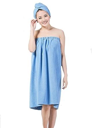 48ff2e3fc8 YAOSEN Women Spa Wrap Set Terry Bath Towel Absorbent Bathrobe With Hair  Drying Hat (Blue