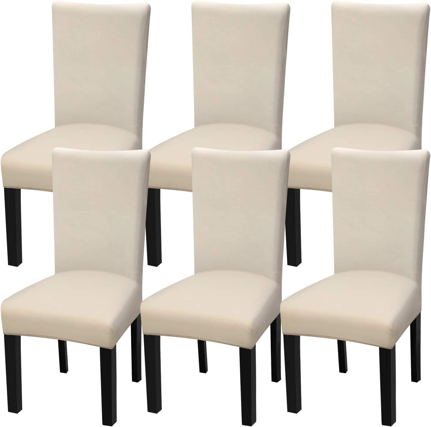 Fuloon 6 Pack Super Fit Stretch Removable Washable Short Dining Chair Protector Cover Seat Slipcover for Hotel,Dining Room,Ceremony,Banquet Wedding Party (Cream-Coloured): Kitchen & Dining