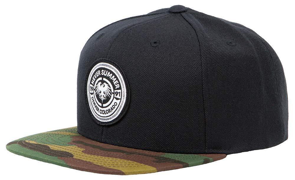 Never Summer Bullet Eagle Patch Adjustable Snapback Hat (Black/Camo)