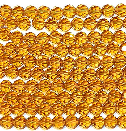 Bead Jewelry Making Light Topaz Golden Brown 8mm Faceted Round Crystal Glass Beads ()
