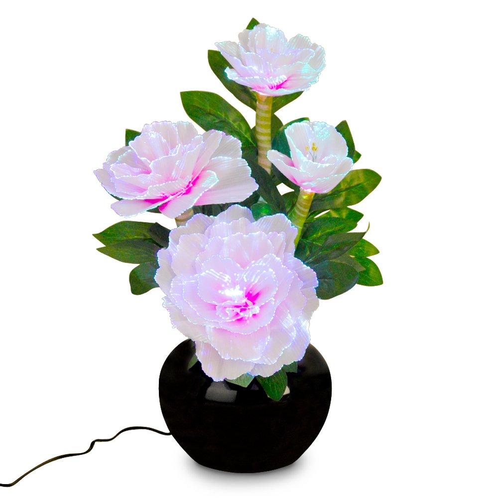 Beautiful fibre optic colour glowing pink flower bouquet beautiful fibre optic colour glowing pink flower bouquet arrangement and vase table lamp light amazon lighting reviewsmspy