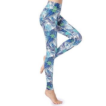 Yundongyi Cintura Alta Impreso Mujeres Pantalones de Yoga ...