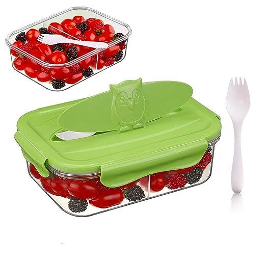 Tritan Plastico 2-compartimentos Hermetico Recipientes para alimentos, 100% sin bpa, Seguro para microondas, congelador, lavavajillas (1,68 L, ...