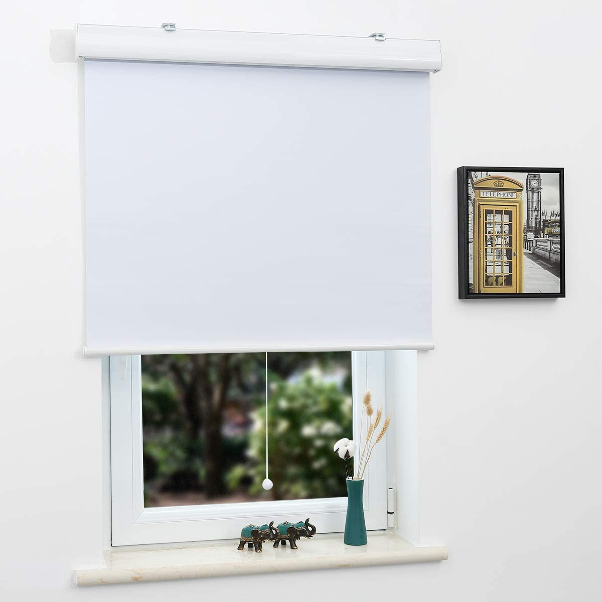 SUNFREE Blackout Window Shades Cordless Roller Shades for Window and Door, Home and Office, White(Upgrade Version), 32