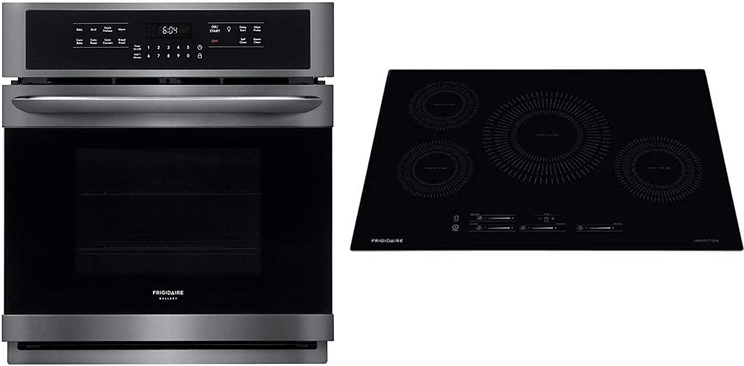 "Frigidaire 2 Piece Kitchen Appliances Package with FGEW2766UD 27"" Electric Single Wall Oven and FFIC3026TB 30"" Induction Cooktop in Black Stainless Steel"