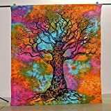 Indian Hippie Tapestry Tree Of Life Wall Hanging Bohemian Wall Tapestry Dorm Decor Bedding Beach Blanket Throw (55 X 85 Inches) (139 X 215 cm)