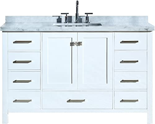 ARIEL Cambridge A055SCWRVOWHT 55 Inch Single Rectangular Sink Solid Wood White Bathroom Vanity with 1.5 Inch Edge Carrara Marble Countertop