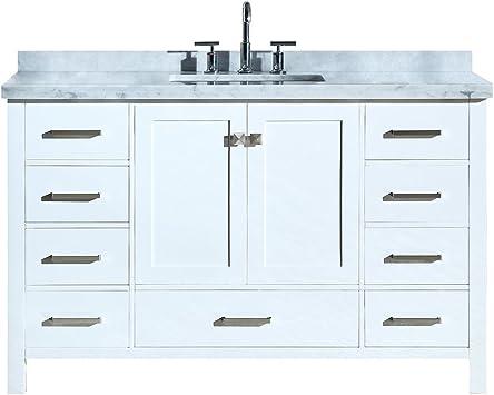 Amazon Com Ariel Cambridge A055scwrvowht 55 Inch Single Rectangular Sink Solid Wood White Bathroom Vanity With 1 5 Inch Edge Carrara Marble Countertop Kitchen Dining