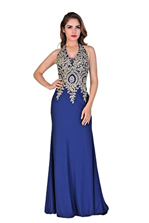 Miss Chics Women Halterneck Side Slit Beaded Evening Gowns Prom Dresses 2016(UK18,Royal