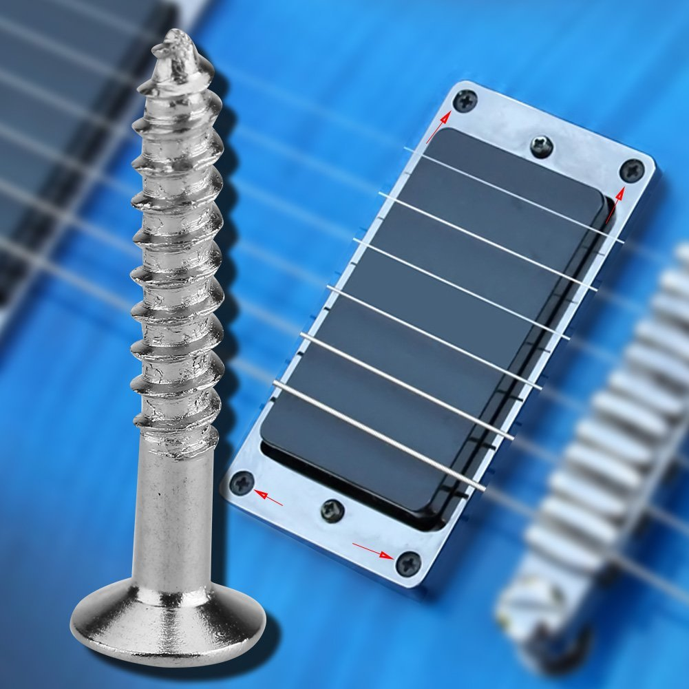Alomejor Guitar Pickup Screws, 40 Pcs Humbucker Screws Set Kit Ring Surround Mounting Screws