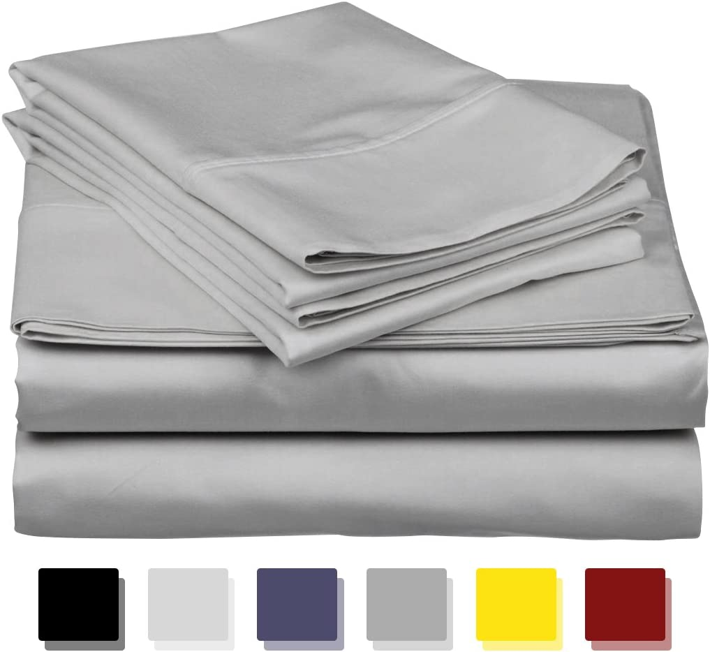 True Luxury 1000-Thread-Count 100% Egyptian Cotton Bed Sheets, 4-Pc King Silver Sheet Set, Single Ply Long-Staple Yarns, Sateen Weave, Fits Mattress Upto 18'' Deep Pocket