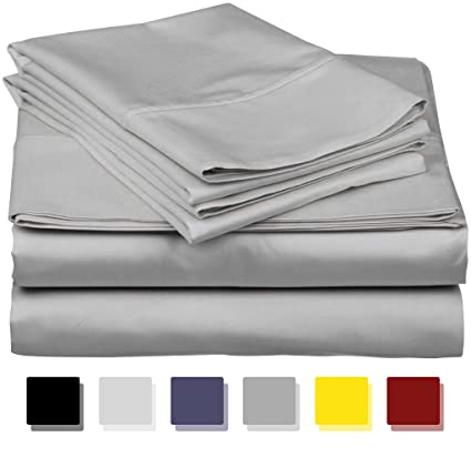 True Luxury 1000 Thread Count 100 Egyptian Cotton Bed Sheets 4 Pc California King Silver Sheet Set Single Ply Long Staple Yarns Sateen Weave Fits