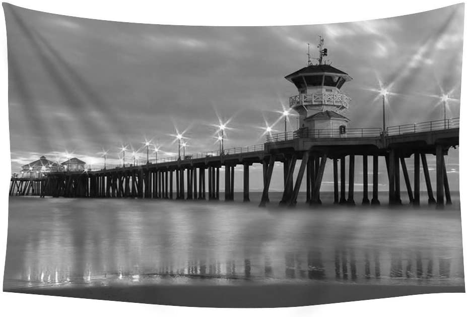 PUPBEAMO PRINTS Huntington Beach Pier - Wall Tapestry Art For Home Decor Wall Hanging Tapestry 60x40 Inches Black and White