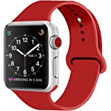 ZRO Cinturino for Apple Watch, Morbido Silicone Braccialetto di Ricambio per 42mm iWatch Serie 3/ Serie 2/ Serie 1, Taglia M/L, Nuovo Rosso