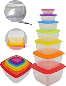 Food Storage Containers Kit 7 sets of Stackable Plastic Lunch Meal Prep Takealongs Containers for Freezer Kitchen Organizer Microwavable With Multi-color Lids (14 Pieces intotal)