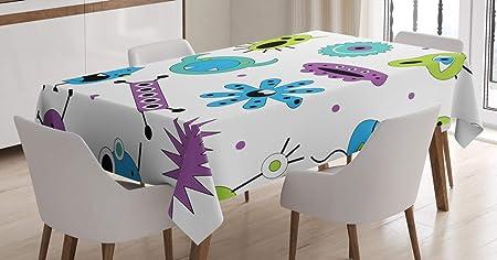 ABAKUHAUS Loco Mantele, Monster Diseño Colorido del Virus, Resiste Las Manchas Fáciles de Limpiar Lavable Estampa Durable, 140 x 240 cm, Multicolor: Amazon.es: Hogar