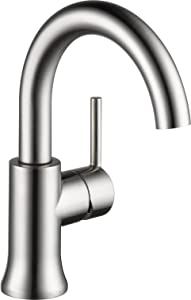 Delta Faucet Trinsic Single-Handle Bathroom Faucet with Diamond Seal Technology and Metal Drain Assembly, Stainless 559HA-SS-DST