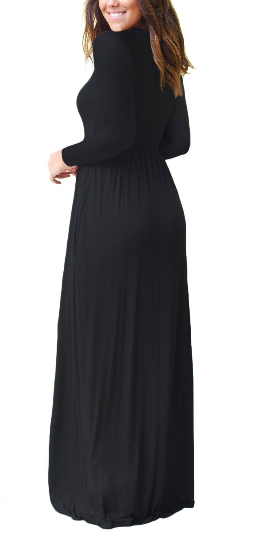 DEARCASE Women Long Sleeve Loose Plain Maxi Pockets ...