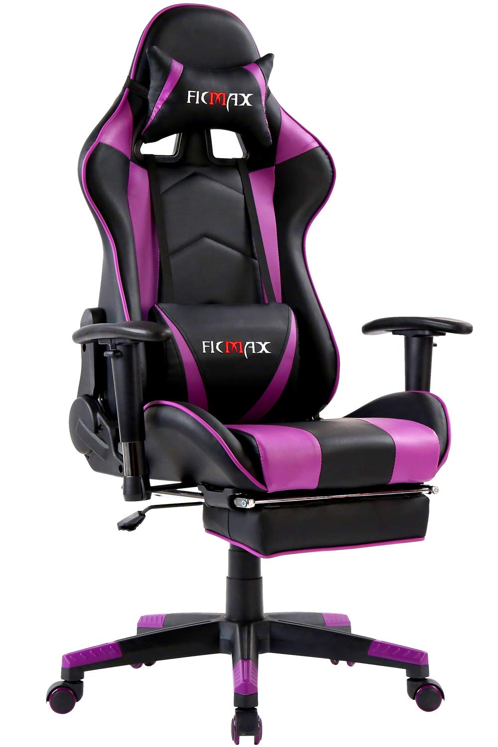 Ficmax Massage Gaming Chair Ergonomic Computer Gaming Chair with Footrest Reclining Computer Chair High Back Gaming Desk Chair Racing Style Home Office Chair With Head and Lumbar Support(Black/Purple) by Ficmax