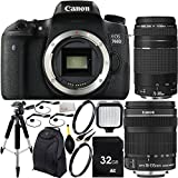 Canon EOS 760D/T6s DSLR Camera with EF-S 18-135mm f/3.5-5.6 IS STM Lens & EF 75-300mm f/4-5.6 III Lens 32GB Bundle12PC Accessory Kit. Includes 32GB Memory Card + 2 UV Filters + Full Size Tripod + LED Video Light + Mini HDMI Cable + MORE