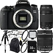 Canon EOS 760D/T6s DSLR Camera with EF-S 18-135mm f/3.5-5.6 IS STM Lens & EF 75-300mm f/4-5.6 III Lens 32GB Bundle12PC Accessory Kit. Includes 32GB Memory Card + 2 UV Filters + Full Size Tripod + LED Video Light + Mini HDMI Cable + MORE