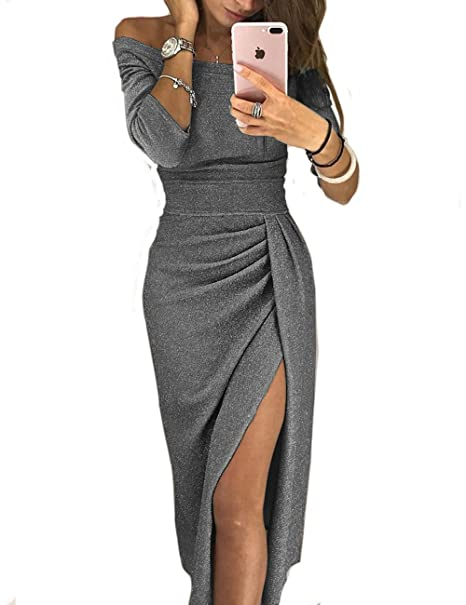 5d26dca1d15b CHICME BEST SHOPPING DEALS Women Shiny Off Shoulder Ruched Thigh Slit Dress   Amazon.co.uk  Clothing