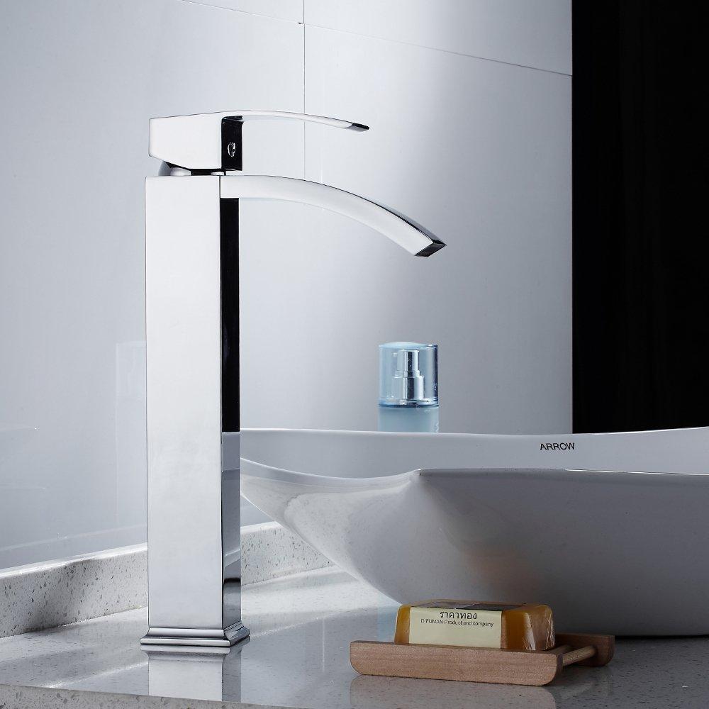 LITTLEGRASS Bathroom Vessel Faucet Waterfall High Arc Bathroom ...