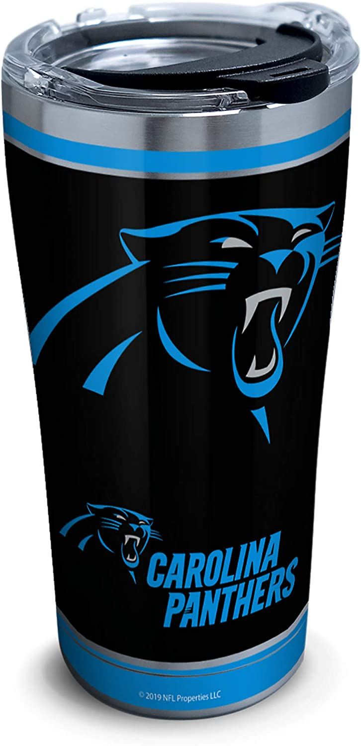 Tervis NFL Carolina Panthers - Touchdown Stainless Steel Insulated Tumbler with Clear and Black Hammer Lid, 20 oz, Silver