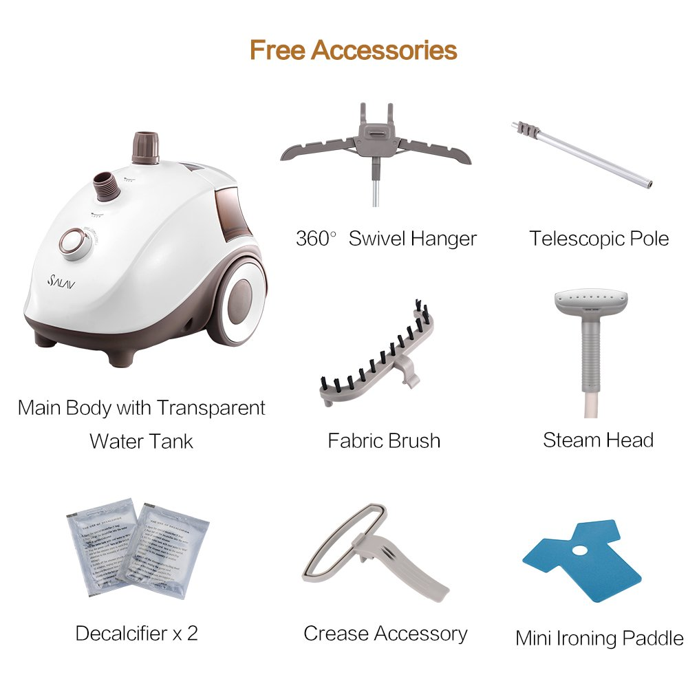 SALAV Clothes Steamer with 360 Degree Swivel Hanger, High Efficiency Metal Steam Panel, 4 Steam Settings, Free Limescale Removers, 1.5L Big Water Tank 1500W GS24-BJ Upgraded Eddition by SALAV (Image #6)