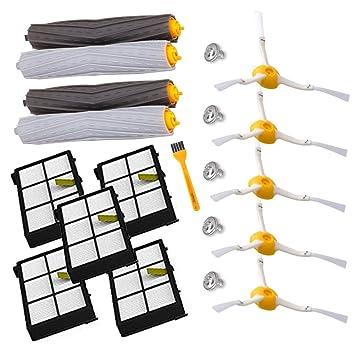 Accesorio para Irobot Roomba Rueda de rueda + Filtro HEPA + Reemplazo del kit de cepillo lateral para iRobot Roomba 800 860 870 880 980 Aspirador ...