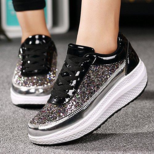 Ausom Donna Fresco Con Paillettes Forma Altalena Scarpe Zeppa Piattaforma Zeppa Camminare Fitness Sneaker Argento