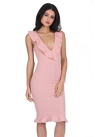 13db90f7ab AX Paris Women s V Neck Frill Detail Bodycon Dress at Amazon Women s ...