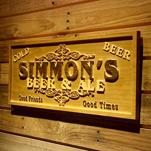 wpa0074 Name Personalized Beer & Ale Bar Good Friends Good Times Man Cave 3D Engraved Wooden Sign - Standard 23