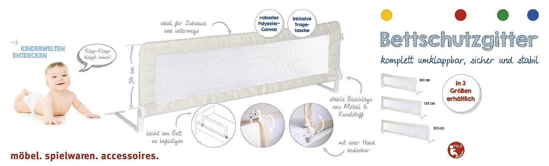 roba Bettschutzgitter Klipp-Klapp beige Rausfallschutz 100 cm klappbares Bettgitter f/ür Babys /& Kinder