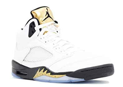 b6ae2c26709 Image Unavailable. Image not available for. Color: Air Jordan 5 Retro  Olympic (Gold Metal) 136027-133 ...