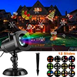 SUGIFT Christmas Lights LED Projector Light with 12 Switchable Patterns/Slides,Waterproof Landscape Projector Lamp, Outdoor/Indoor for Halloween, xmas, Holiday, Party, Garden Decorations