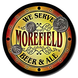 Morefield Family Name Beer and Ale Rubber Drink Coasters - Set of 4