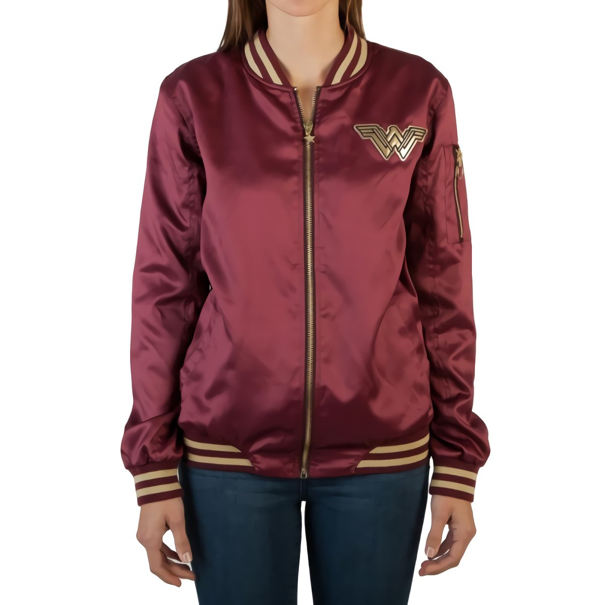 Officially Licensed Ladies DC Comics Wonder Woman Logo Bomber Jacket OW5CG4WWM