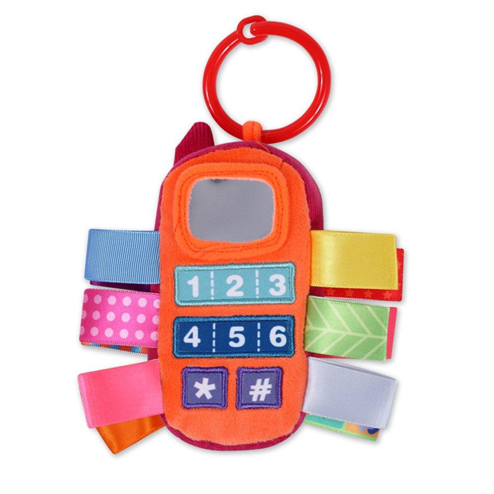 (ザミック) ZGMYC ベビーカー用ぬいぐるみ ベビーカー 車に掛けるガラガラのおもちゃ かわいい携帯電話のおもちゃ スクイーキーベル付き one size オレンジ NVwj-171112B-02  オレンジ B07JH5K8B9
