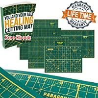 """Double Sided Self Healing Cutting Mat For Scrapbooking, Sewing, Kids' Crafts & Quilting – Durable & Practical Design With Convenient Grids & Angles For Maximum Precision - 17"""" x 11"""" – Green"""