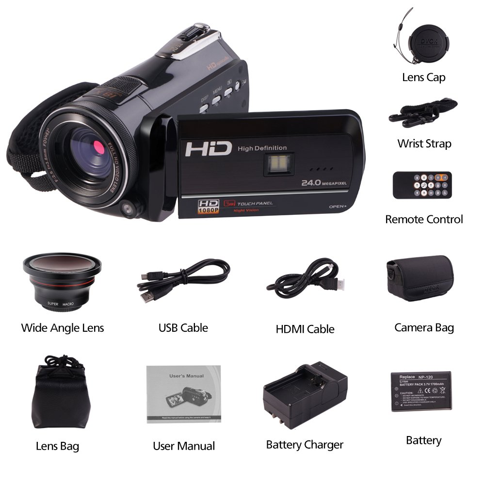 Camcorders, Full HD 1080P 30FPS Wifi Camcorder DVR Handy Video Camera Recorder with Infrared Night Vision, 3'' Touchscreen, IR Remote Control, 18X Digital Zoom and 72mm Ultra HD Wide Angle Lens by LAKASARA (Image #7)