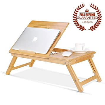 Ej. Life Portable Bamboo Foldable Laptop Desk Notebook Adjustable Height  Tray Table Bed Table With