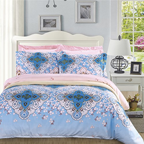DelbouTree 2pcs Bedding Set,Lightweight Microfiber Duvet Cover Set,Twin size Jade Mirage (Pink And Light Blue Bedding compare prices)
