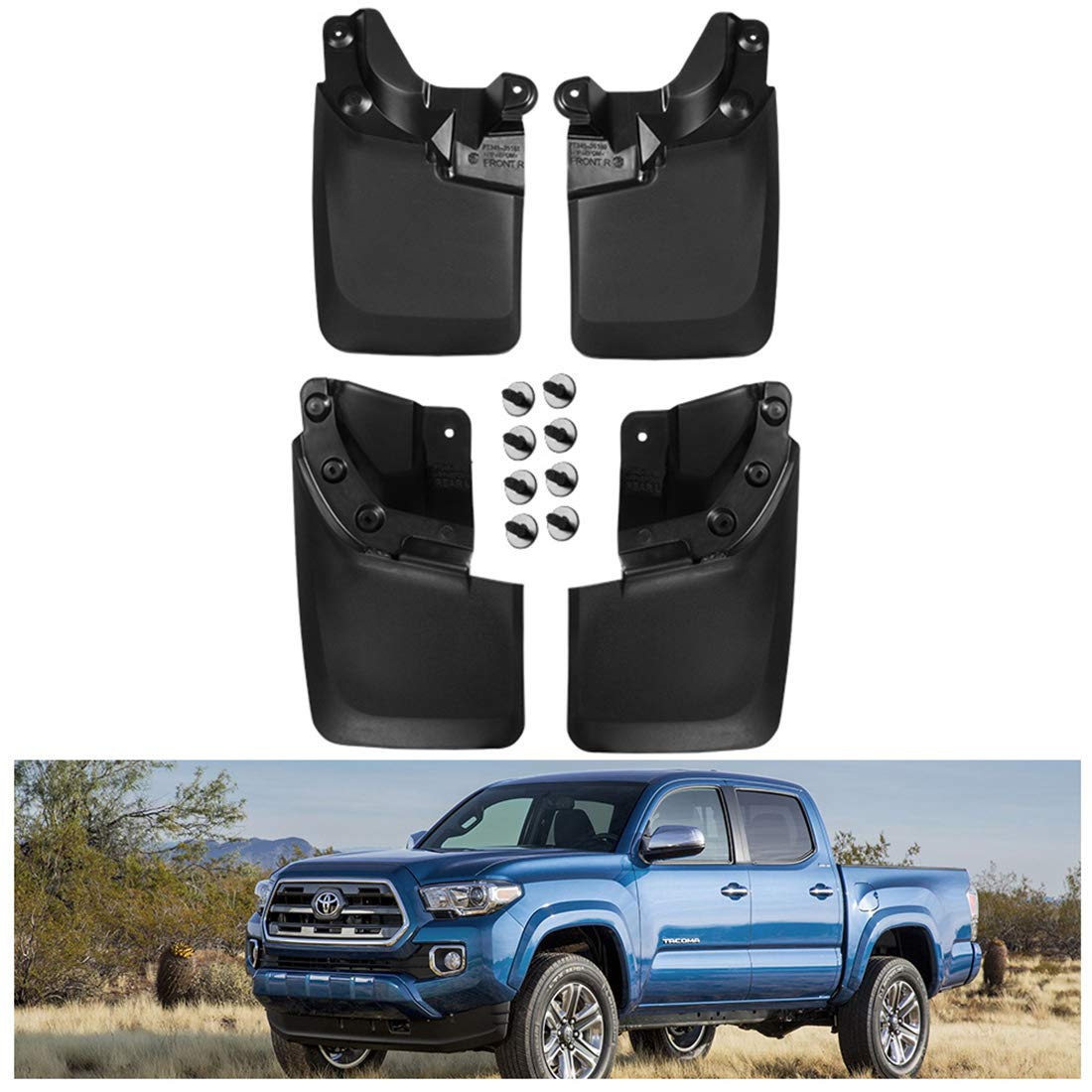 KIWI MASTER Mud Guards Compatible for Toyota Tacoma 2016-2018,4 Pcs Set Front and Rear Flaps Splash Guards (with OEM Fender Flares ONLY),Black