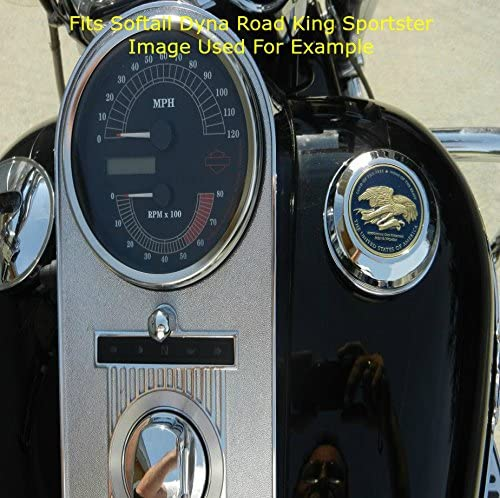 MotorDog69 Harley Gas Cap Coin Mount Set with Retired Marine for Softail Dyna Road King Sportster/…/…